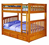 Discovery World Furniture Full Over Full Bunk Bed with 3 Drawer Storage, Honey For Sale