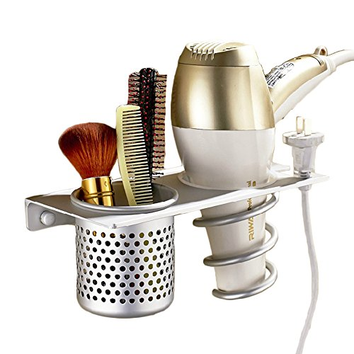 Eco-friendly Aluminum Hair Dryer Holder Organizer w/ Cylindrical Canister Wall Mounted