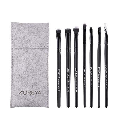 Zoreya 7Pcs Professional Eye Makeup Brush Set Synthetic Fiber Eye Makeup Brushes With Case