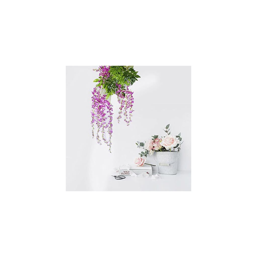 Auxsoul Artificial Plants Wisteria Vine Hanging Silk Party Garden