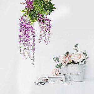 Auxsoul Artificial Plants Wisteria Vine Hanging Silk Party Garden Flower Wedding Decor artificial plants outdoor 14