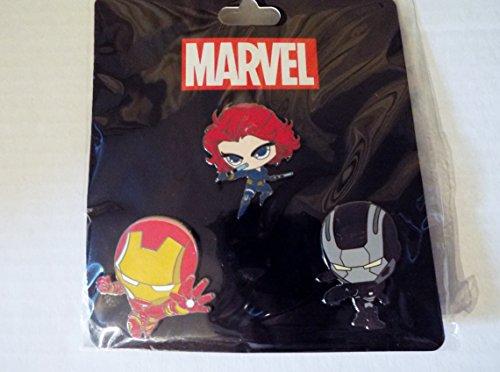 (2016 New York Comic Con Exclusive Scottie Young Iron Man Pin Set w/ Iron Man, War Machine, Black Widow)