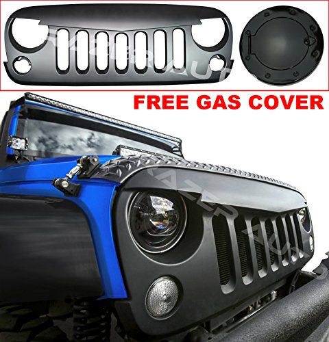 Razer Auto Angry Skull Grille Matte Satin Black Replacement Grille for 07-17 Jeep JK Wrangler