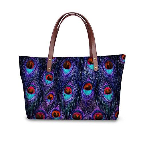 (Women Shoulder Tote Bag Peacock Feather Waterproof Shoulder Bags Anti-theft)