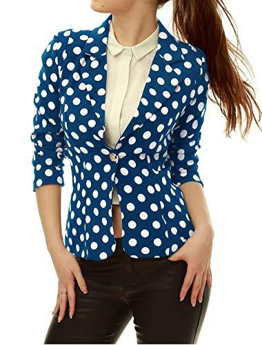 Vintage Di Primaverile Autunno Con Dots Casual Slim Lunga Azul Tailleur Donna Manica Eleganti Polka Chic Bavero Da Button Cappotto Blazer Fit Moda Giacche Giacca wqn4Z0IF