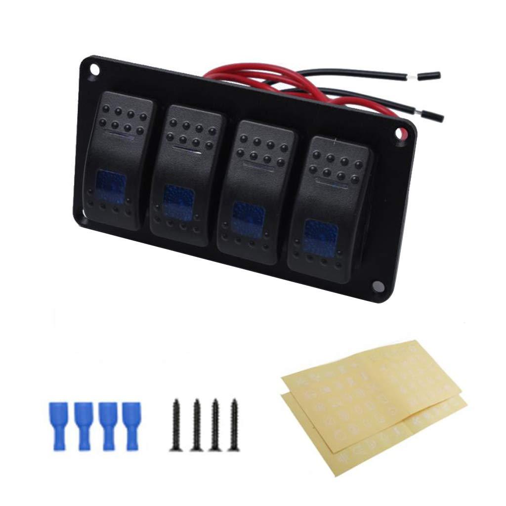 Homyl Universal 12V//24V Car Modified 4 Gang Rocker Switch Panel ON//Off 5P LED Display Blue