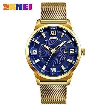 Skmei - Reloj de cuarzo para hombre, de lujo, de negocios, de acero inoxidable, color dorado, Azul: Amazon.es: Deportes y aire libre
