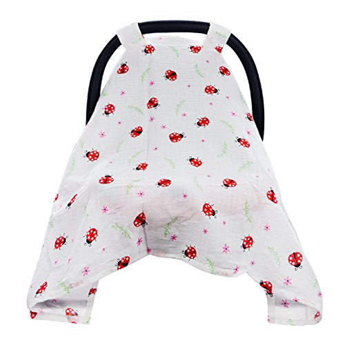 Hi Sprout Breathable Cotton Muslin Canopy Car Seat Cover for Girls and Boys,Ladybug