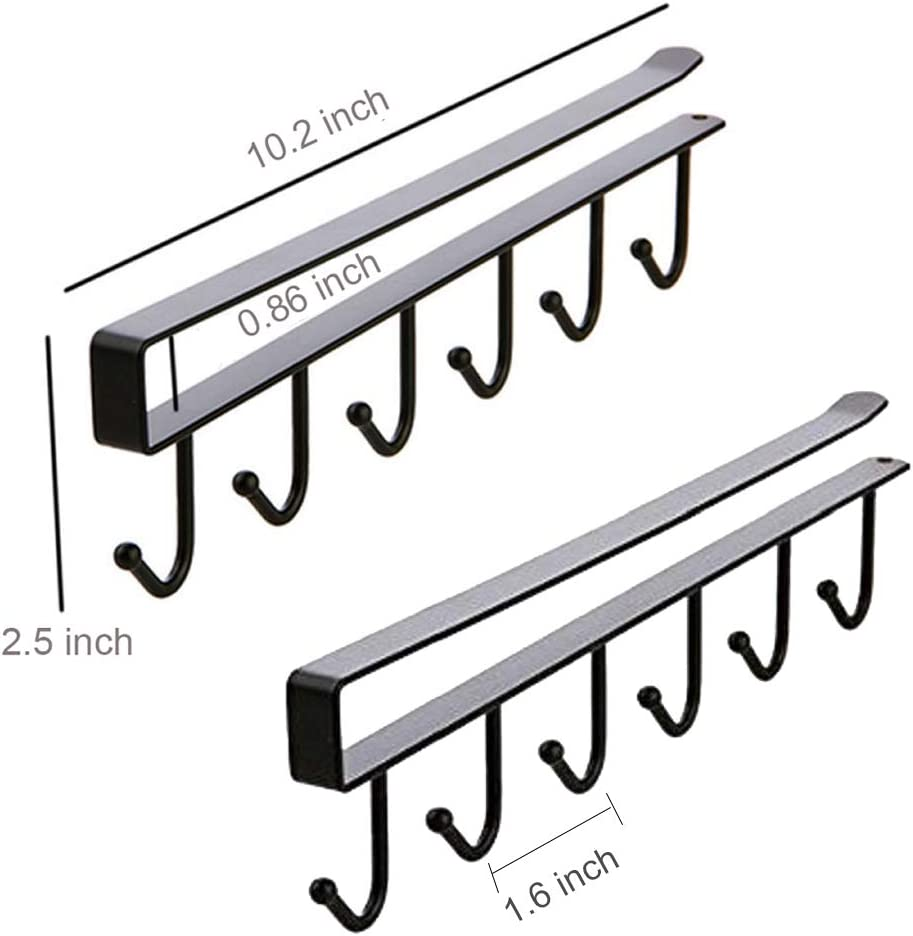 AliCH 2pcs Mug Hooks Under Cabinet Mug Holder Rack,Nail Free Adhesive Coffee Cups Holder Hanger for Cups//Kitchen Utensils//Ties Belts//Scarf//Keys Storage Black Fit for 0.8inch Thickness Shelf or Less