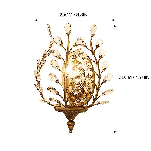 European Luxury Olive Branch Carved Iron Crystal Wall Lamp American Country Living Room Bedroom Bedside Aisle Creative Retro E14 Wall Light (Black / Bronze) ( Color : Black ) by WEID Light (Image #4)