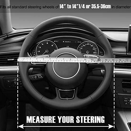 SEG Direct Couvre Volant Rouge Microfibre Cuir Pour Prius Civic 35.5-36 cm