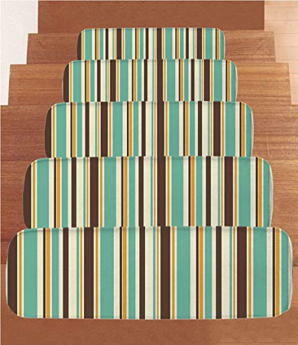 SoSung Striped Decor Coral Fleece Stair Treads,Stair Tread Mats,Funk Art Nostalgic Lash Strokes with Earthen Tones Blow Fashion Graphic,(Set of 5) 8.6