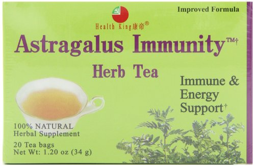 Health King  Astragalus Immunity Herb Tea, Teabags, 20-Count Box (Pack of 4)