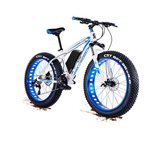 \t New 1500w 48V Electric Mountain Bicycle- 26inch Fat Tire E-Bike Beach Cruiser Mens Sports Electric Bicycle MTB Dirtbike- Full Suspension Lithium Battery E-MTB Blue
