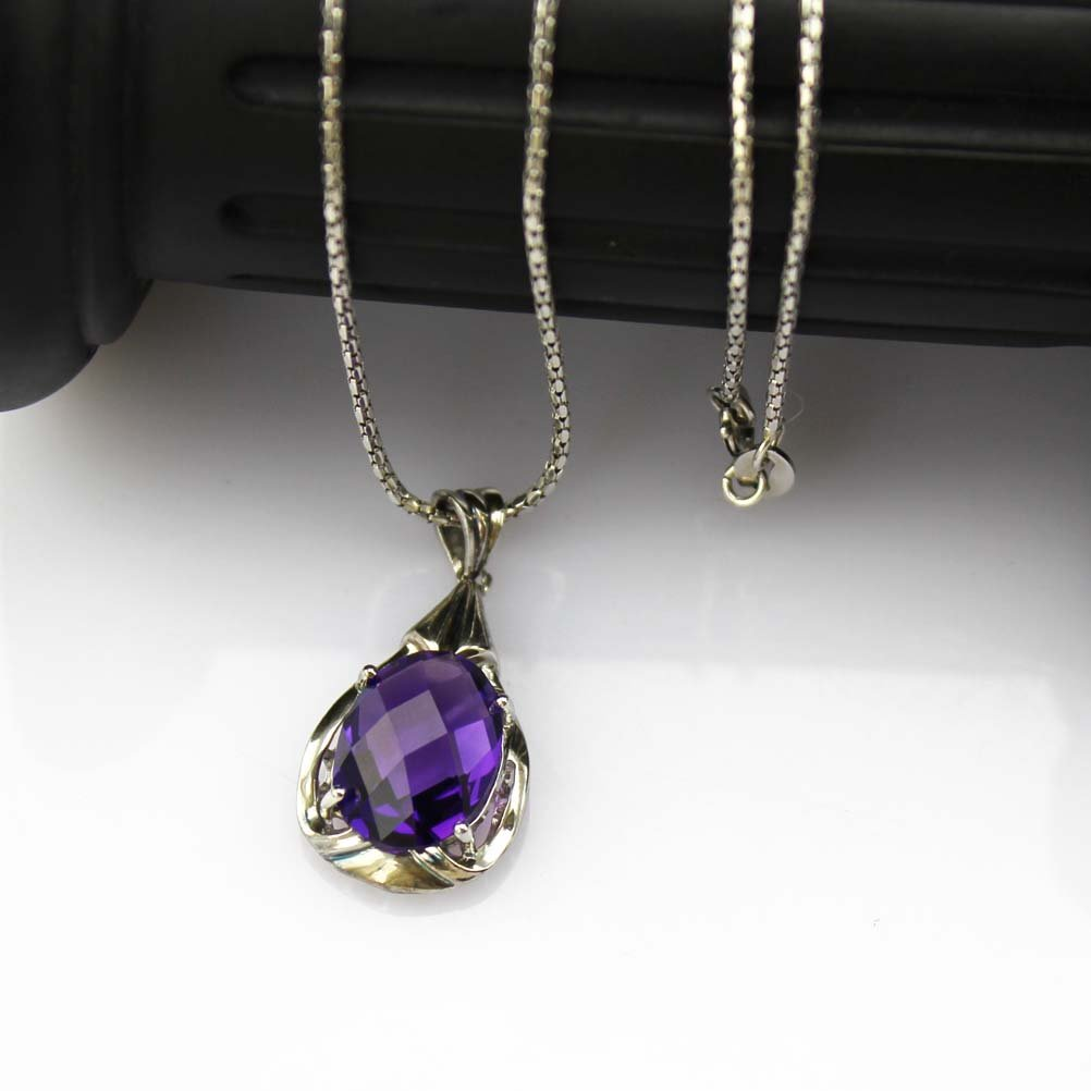 Jade Angel 925 Silver 18 Inches Chain Necklace with 10x14mm Oval Purple Cubic Zircon Pendant