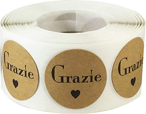 Grazie Italian Thank You Natural Kraft Adhesive Stickers 1 Inch Round Circle Dots 500 Labels Per Roll (Italian Thank You Cards)