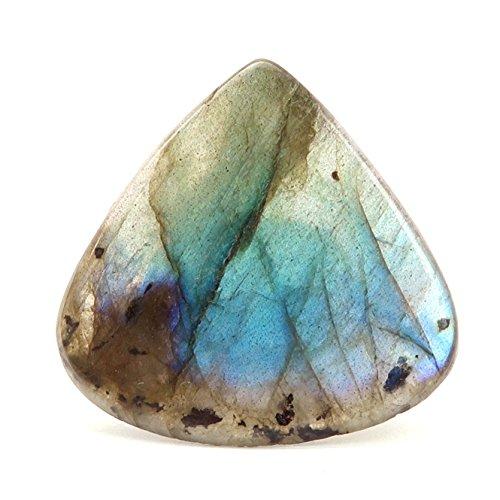 Labradorite Ring 05 - Blue Rainbow Flash Large Chunky Gemstone One-of-Kind (Size 7.5) Labradorite Blue Flash