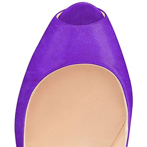 official site sale online YDN Women Peep Toe Sky High Heels Platform Pumps Ankle Straps Shoes Metal Stilettos Purple cheap affordable buy cheap footlocker PGFCESPx