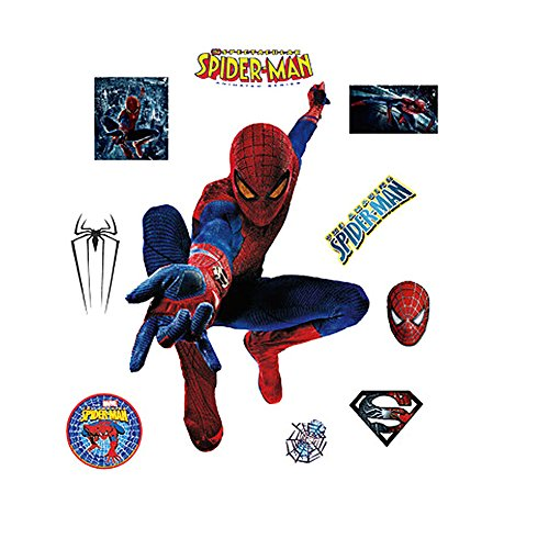 EasiTool Spiderman 3D Wall Decals DIY Removable Stickers Waterproof Room Decor Murals for Kids with Luminous Stars