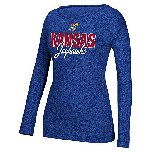 Mascot Large T-shirt Adidas (NCAA Kansas Jayhawks Women's Mascot Script Long Sleeve Crew Tee, Large, Collegiate Royal)