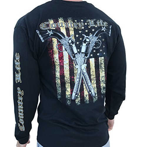Outfitters Country - Country Life American Flag and Pistols Black Long Sleeve Shirt (Large)