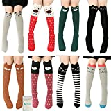 Girls Socks, Gellwhu 6/8 Pairs Cotton Over Calf Knee High Socks Animal Cat Fox Socks (8 Colors)