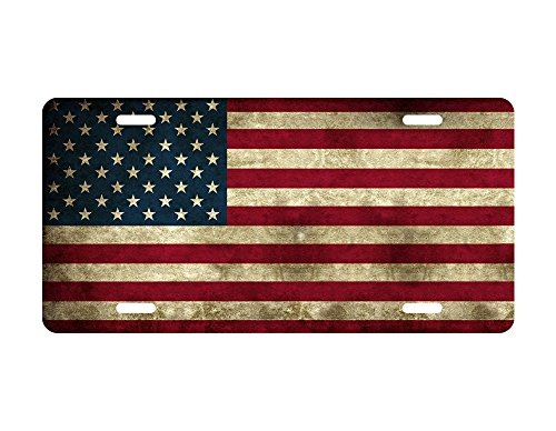 zaeshe3536658 Americana Flag Stars License Plate, Primitive Patriotic Antique American Auto Tag, July 4th Independence Day Rustic Car Plate, Vintage Amaerican Flag Car Plate. ()