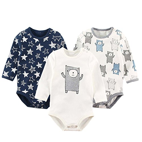 Baby Boys Bodysuit with Long Sleeves Pack of 3 Infants Cotton Onesies Toddler Jumpsuit 24Months by Baby Nest