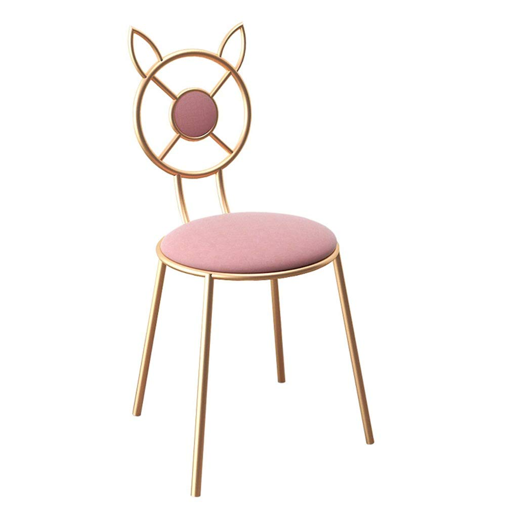 ZzheHou Dressing Hocker Vanity Hocker Nordic Artverfassung Dressing Hocker Netter Metallstuhl Café Make-up Lounge Chair Retro Frisierkommode Hocker (Farbe : Rosa, Größe : Free Size)