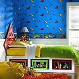 York Wallcoverings BT2801BD Bob The Builder Wallpaper Border, Orange Blue