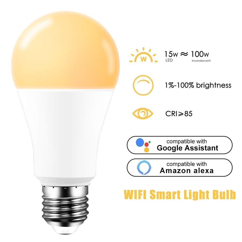 Nessun hub richiesto compatibile con Alexa Lampadina LED E27 Dimmerabile Bianco Caldo 15W 2700K Lampadina LED Wifi Telecomando tramite smartphone 100 equivalenti Google Assistant