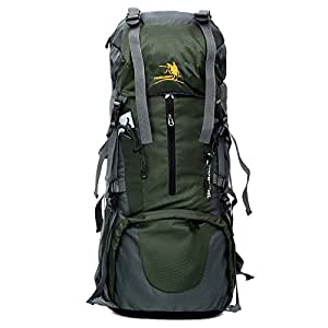 65L Travel, Hiking, Camping, Hunting Large Internal Frame Backpack By MMO – Rip Stop Fabric – Side Pockets – Adjustable Height Torso – Cushioned Shoulder Straps (Dark Green)