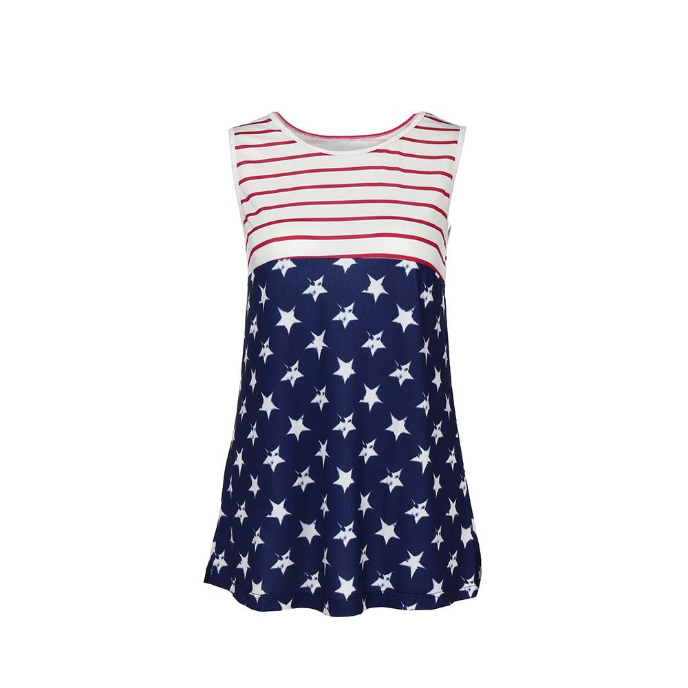 Womens American Flag Tank Top Plus Size Sleeveless Raverback O-Neck Camisole 4th July USA Patriotic Shirt Stars Stripes Summer Casual Blouses Cami Vest