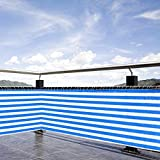236'' x 29'' Durable Balcony Fence Wind Sun Shield Rail Protection Pool Privacy Screen Blue White Stripes Color for Outdoor Patio Garden Backyard