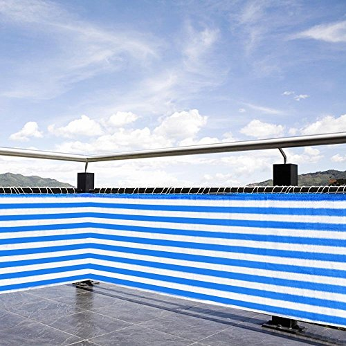 236  X 29  Durable Balcony Fence Wind Sun Shield Rail Protection Pool Privacy Screen Blue White Stripes Color For Outdoor Patio Garden Backyard