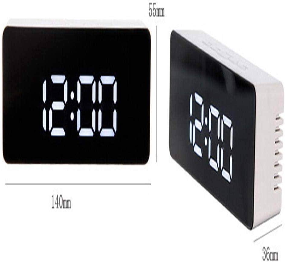 Zerama LED num/érique R/éveil Fonction 12H 24H Snooze Alarme Horloge Miroir thermom/ètre int/érieur Horloge /électronique USB