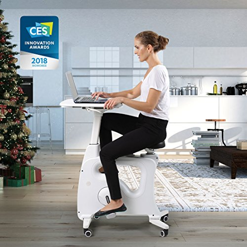 Flexispot Exercise Desk Bike Home Office Height Adjustable Standing Desk Cycle - Deskcise Pro - 2018 CES Innovation Awards Almost Fully Assemble by FLEXISPOT