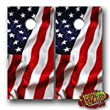 CL0069 American Flag CORNHOLE LAMINATED DECAL WRAP SET Decals Board Boards Vinyl Sticker Stickers Bean Bag Game Wraps Vinyl Graphic Image Corn Hole Patriotic USA
