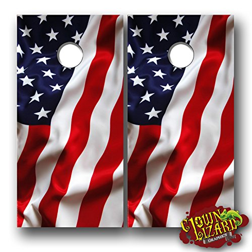 (CL0069 American Flag CORNHOLE LAMINATED DECAL WRAP SET Decals Board Boards Vinyl Sticker Stickers Bean Bag Game Wraps Vinyl Graphic Image Corn Hole Patriotic USA)