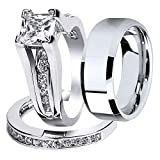 MABELLA Wedding Ring Sets Couples Rings Women's Sterling Silver Princess CZ Men's Stainless Steel Bands