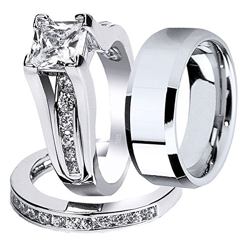 MABELLA Wedding Ring Sets Couples Rings Women's Sterling Silver Princess CZ Men's Stainless Steel Bands by MABELLA (Image #9)
