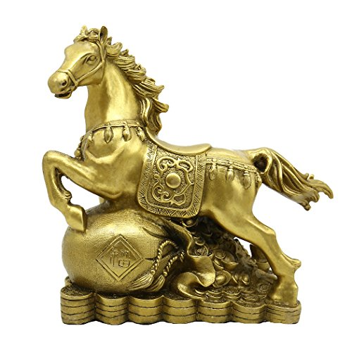 Large Copper Horse - Chinese Handicrafts Handmade Brass Horse Statue Stepping on Feng Shui Ingot Home Decoration Gift