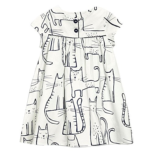 Little Girls Crewneck Cotton T-shirt Dresses Cute Animal Dress Short Sleeve (3T,Cat Print) (Animal Dress For Kids)