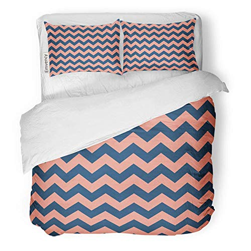MIGAGA Decor Duvet Cover Set Twin Size Abstract Retro Chevron Pattern with Blue Sapphire and Pink Flamingo Pastel Color 3 Piece Brushed Microfiber Fabric Print Bedding Set Cover