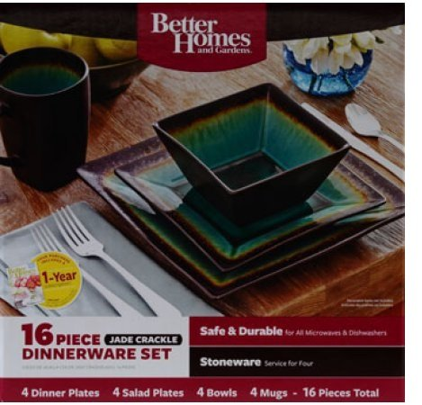 Better Homes and Gardens Jade Crackle 16-Piece Dinnerware Set with Dinner Plates, Salad Plates, Mugs and Bowls
