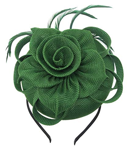 - Biruil Fascinator Pillbox Hat for Women Feather Wedding Party Derby Royal Banquet Headwear (Green)