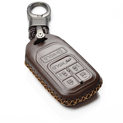 Vitodeco Genuine Leather Smart Key Keyless Remote Entry Fob Case Cover with Key Chain for 2014-2018 Honda Odyssey (6 Buttons, Brown)