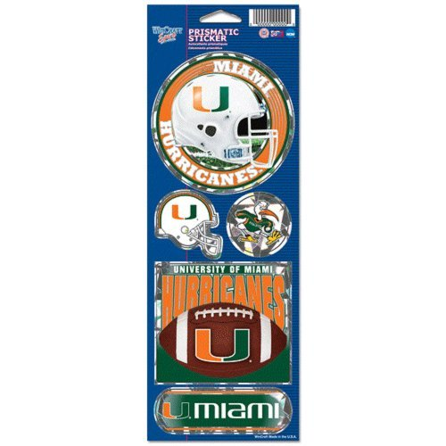 Miami Hurricanes Large 5 Pack of Holographic Stickers