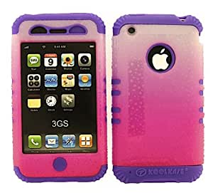 APPLE IPHONE 3G 3GS CASE DROPS HOT PINK WHITE HEAVY DUTY HIGH IMPACT HYBRID COVER LIGHT PURPLE SILICONE SKIN