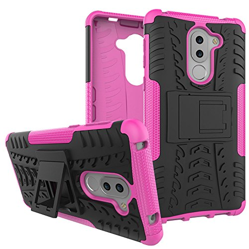 Honor 6X Case, Huawei Honor 6X Case, Moment Dextrad [Built-in Kickstand] [Non-slip Design] Dual Layer Hybrid Full-body Rugged [Shock Proof] Protection Cover for Huawei Honor 6X + Stylus (Pink)